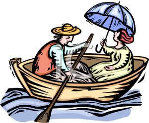 A man rowing boat. Boating clipart cabin cruiser