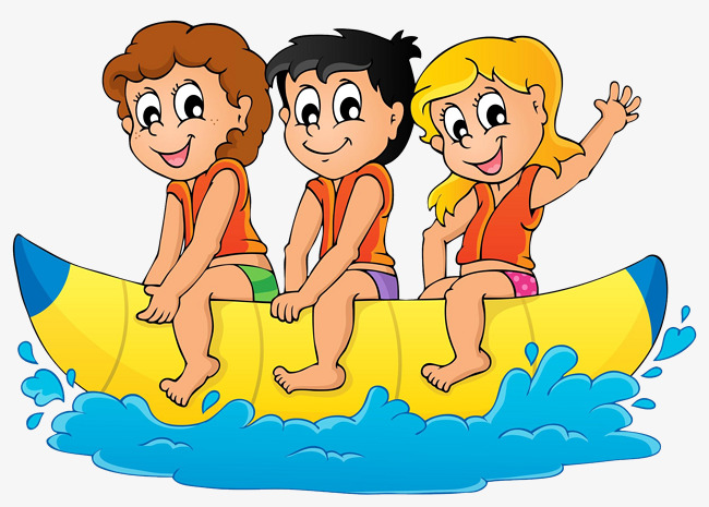 Boating clipart child. Rowing three children seawater
