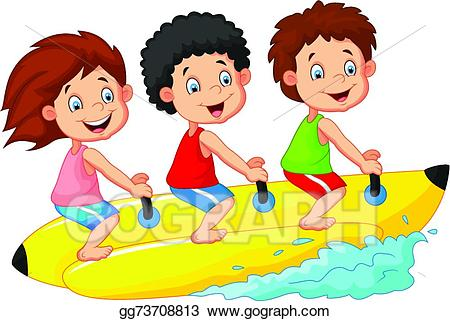 Vector stock happy kids. Boating clipart child
