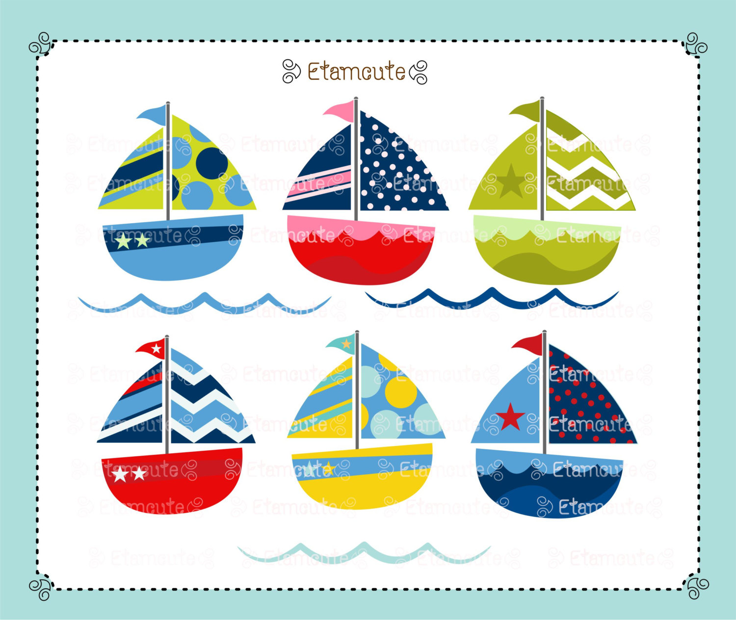 Sailboat for invitations . Boating clipart cute
