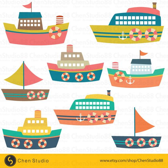 Boat vector digital instant. Boating clipart cute