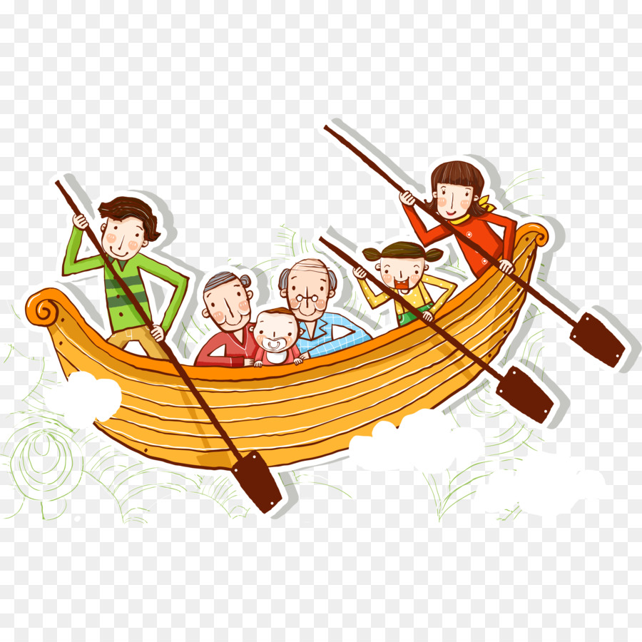 Boating clipart family boat. Cartoon rowing illustration outings