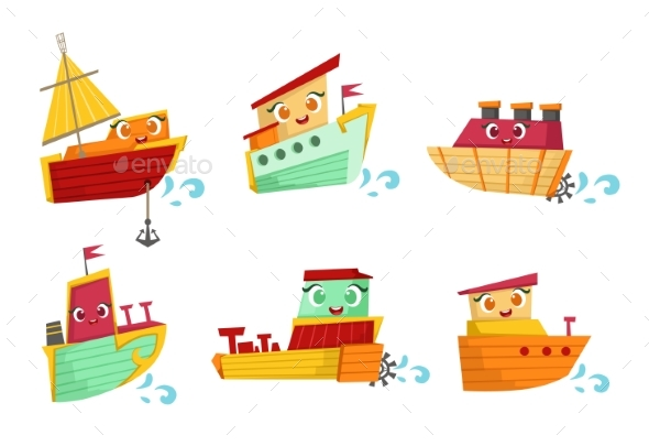 Flat vector set of. Boating clipart family boat