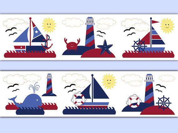 Boating clipart group sailor. Nautical sailboat nursery wallpaper