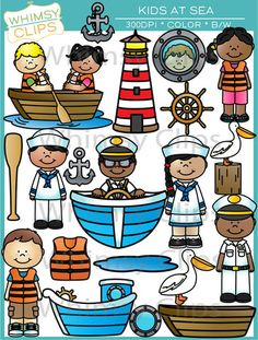 Boating clipart group sailor. Nautical digital whale fish