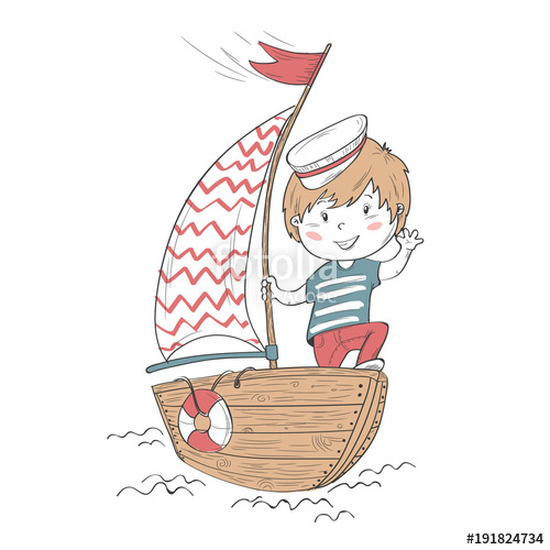 Cartoon character for children. Boating clipart group sailor