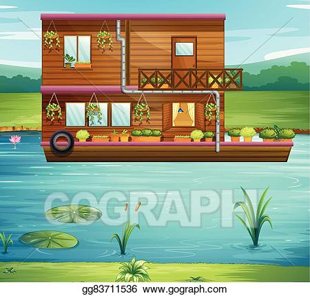 Vector art boat floating. Boating clipart house