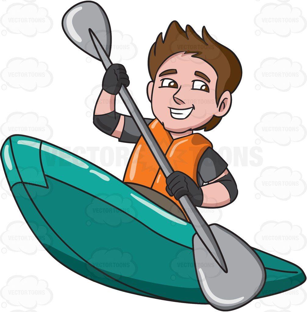Boating clipart kayak. A man enjoying his