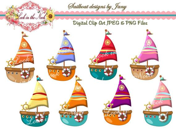 Digital sailboat graphic . Boating clipart kid design