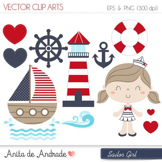 Boating clipart marina. Sailor girl digital vector