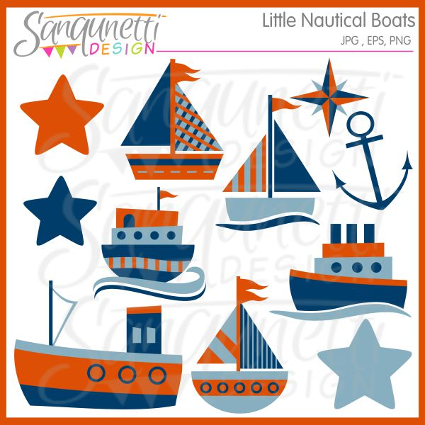 Boating clipart nautical. Little boats