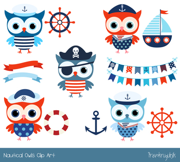 Cute owl red blue. Boating clipart nautical