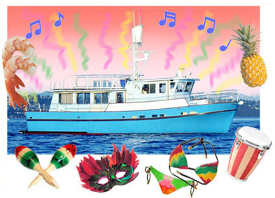 Seattle charter private yacht. Boating clipart party boat