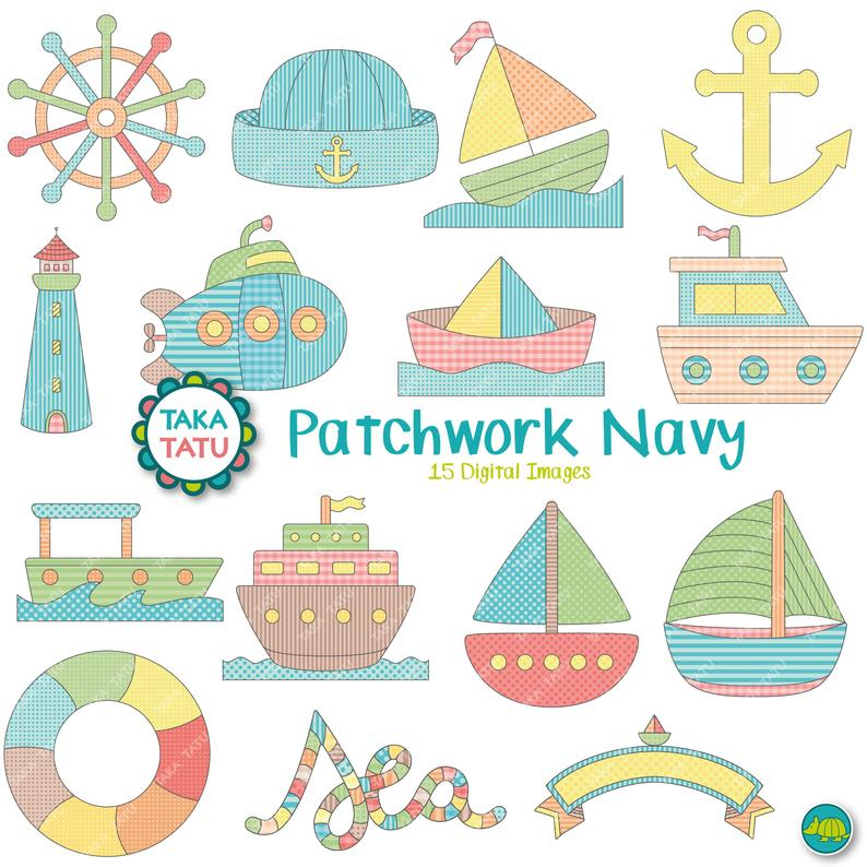 Patchwork navy boats colorful. Boating clipart party boat