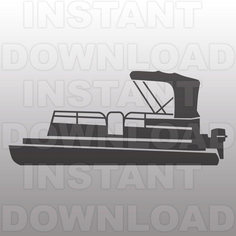 Boating clipart pontoon. Boat svg file lake