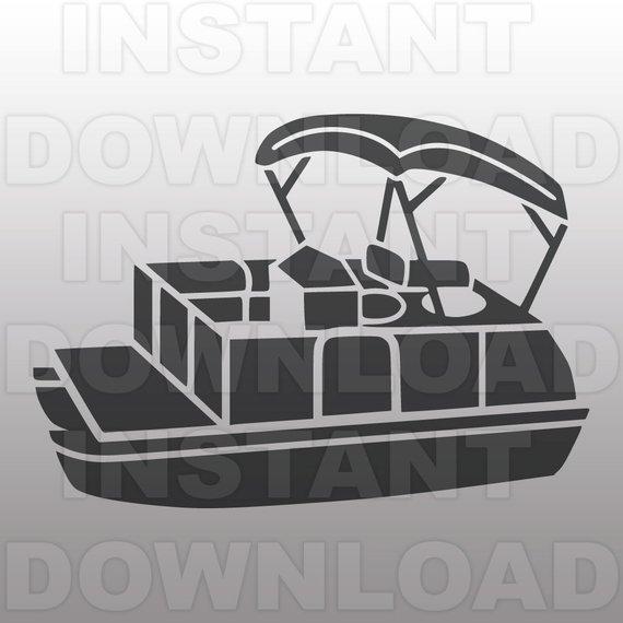 Boating clipart pontoon. Boat svg file vector