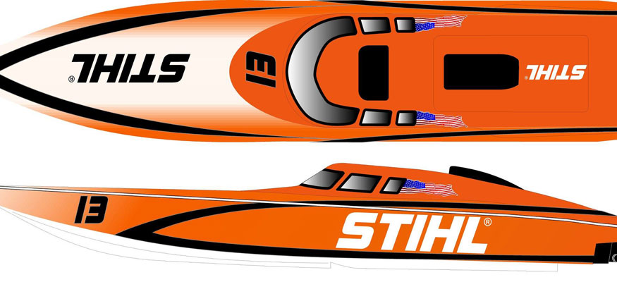 Stihl adding superboat vee. Boating clipart racing boat