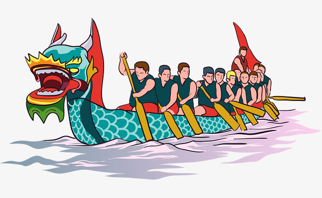Dragon race vector material. Boating clipart racing boat