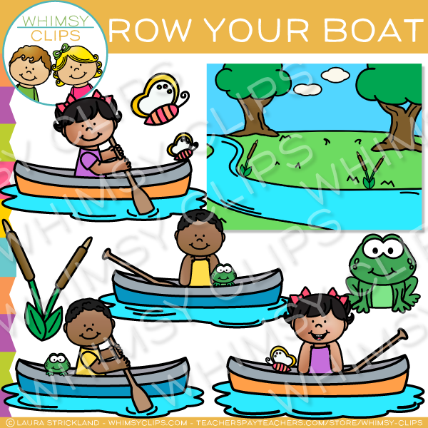 Nursery rhyme clip art. Boating clipart row your boat