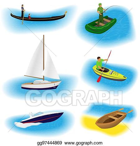 Boating clipart rowing boat. Vector set of six