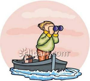 Person in a boat. Boating clipart royalty free