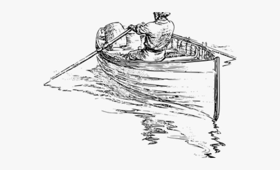 Fishing boat man in. Boating clipart sampan