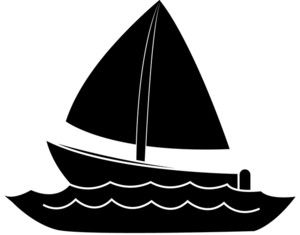 Fish in water clip. Boat clipart silhouette