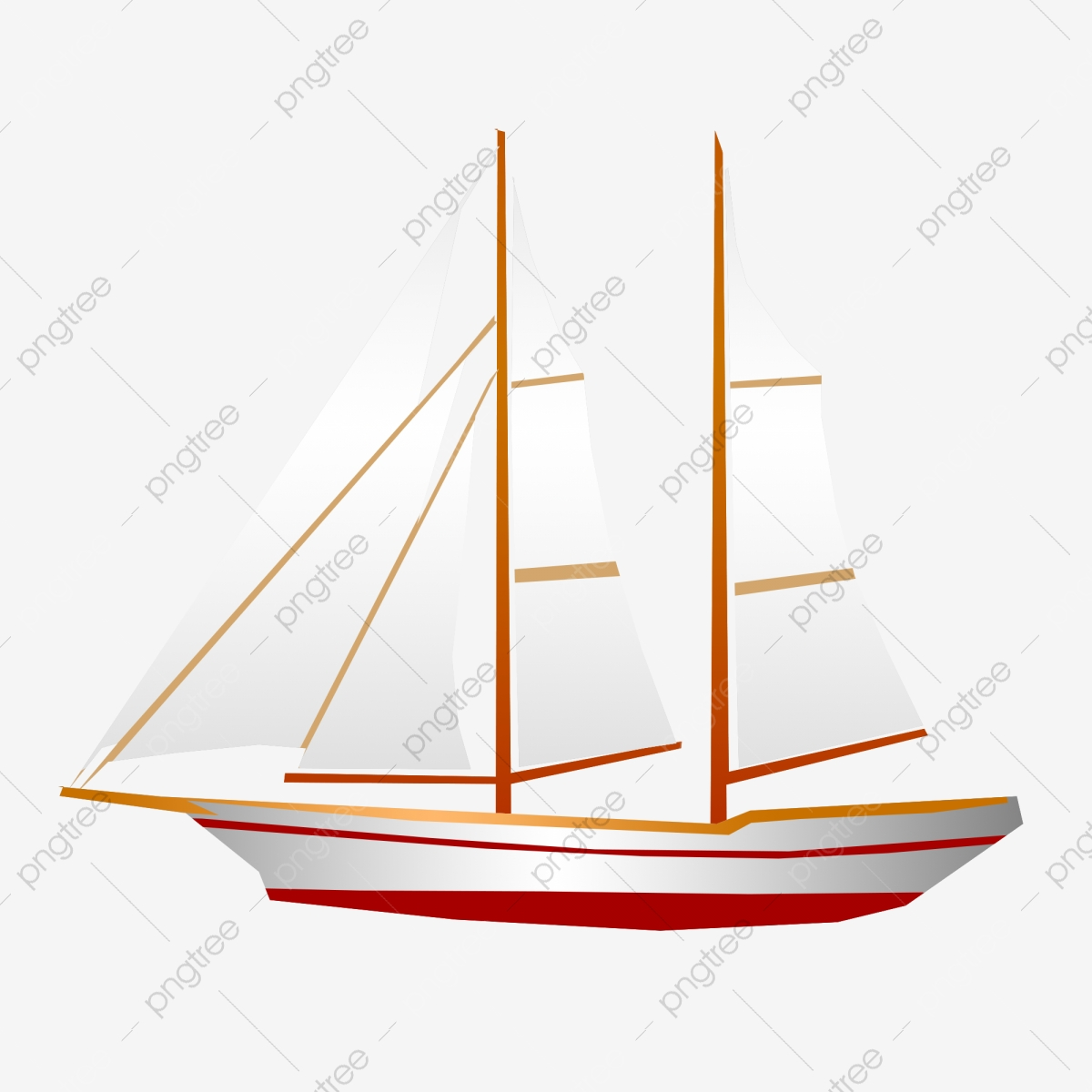 Boating clipart two ship. Hand drawn sailboat red