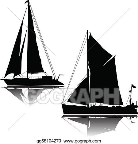 Vector art large sailing. Boating clipart two ship