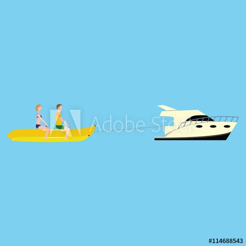 Vector banana boat with. Boating clipart water activity