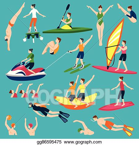 Eps illustration sport and. Boating clipart water activity