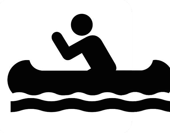 Canoe symbol sign isolated. Boating clipart water activity