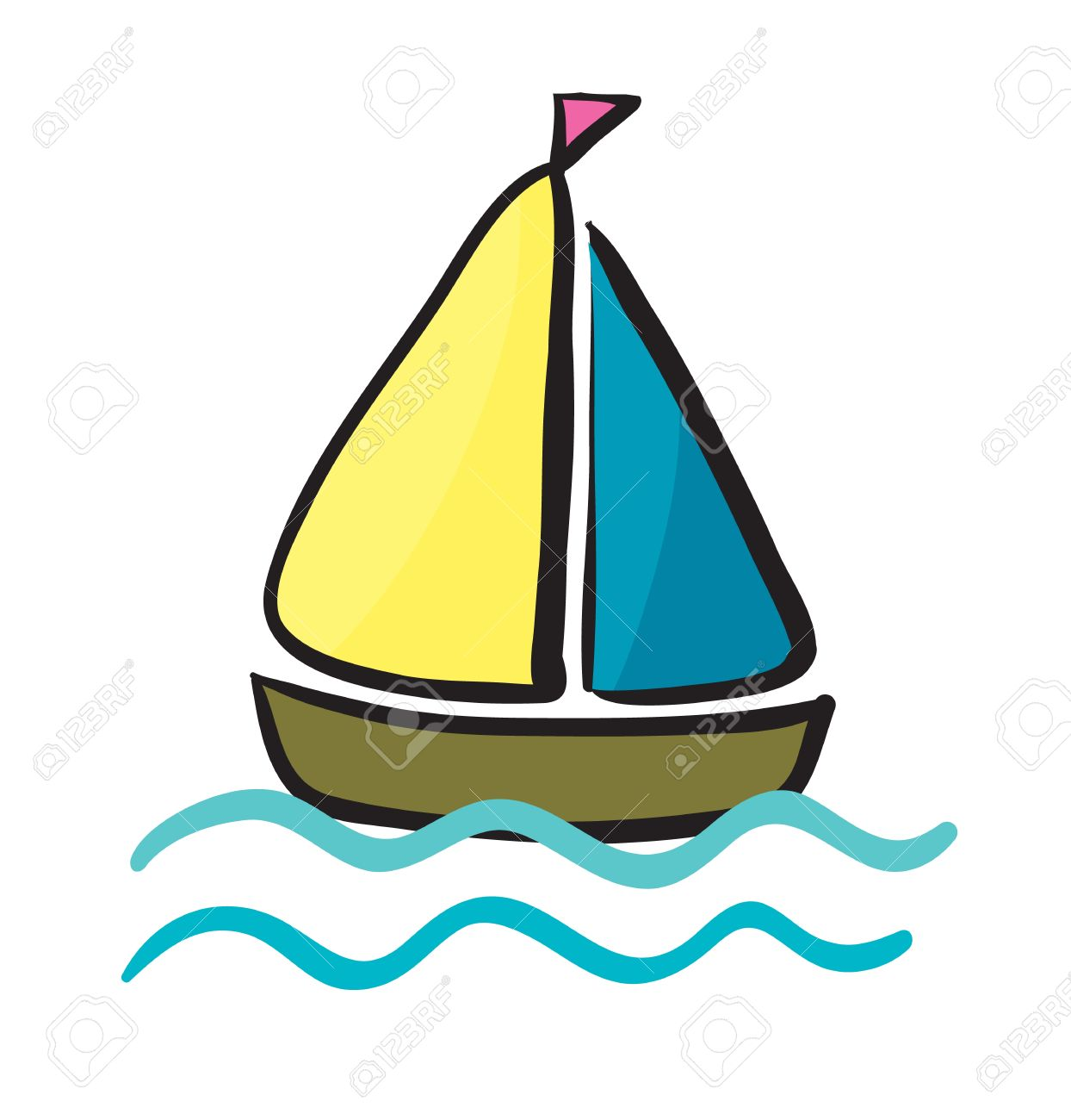 Sailing boat river pencil. Boating clipart watercraft