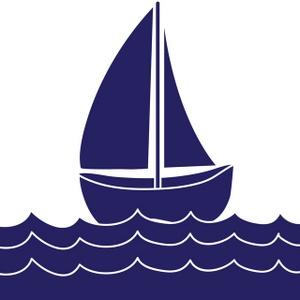 Blue sail boat . Boats clipart border