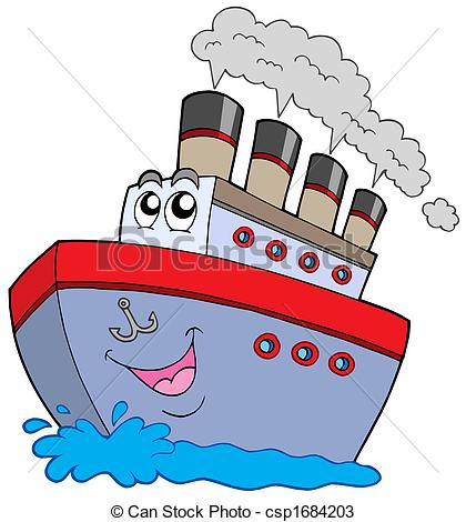 Boat on white background. Boats clipart cartoon