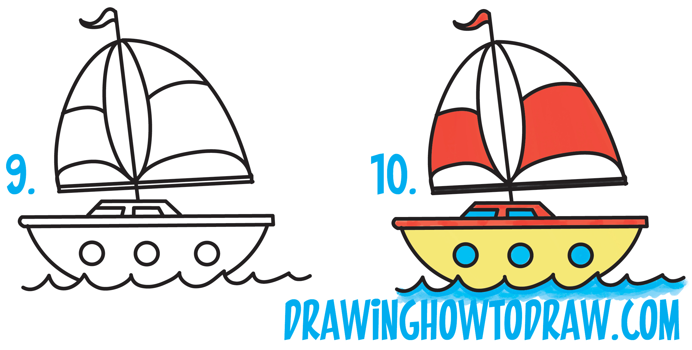 Boating clipart easy. Simple boat drawing at