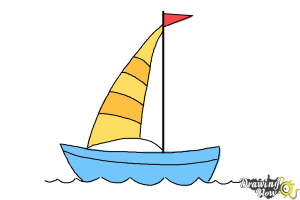Simple boat drawing at. Boating clipart easy