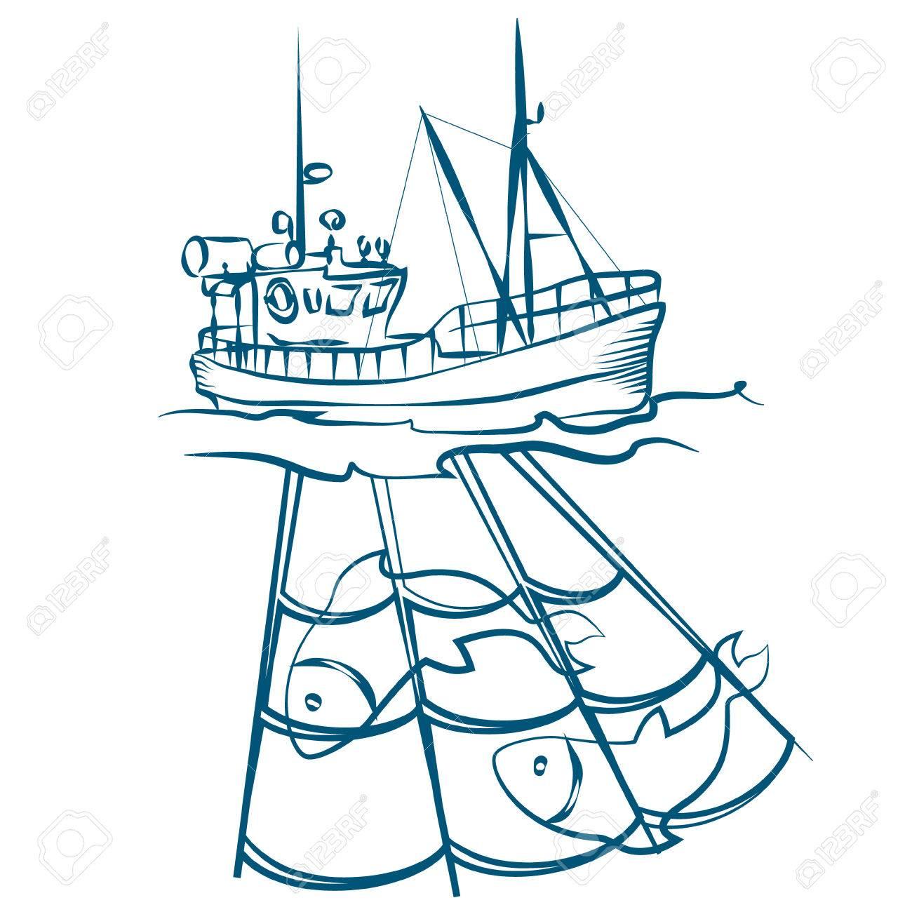 Fishing boat drawing at. Boats clipart line art