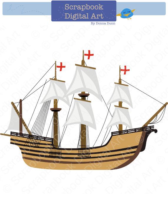 Boats clipart mayflower. Digital clip art carabela