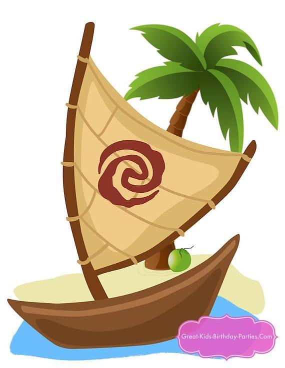 Boats clipart moana. Maui party centerpiece supplies