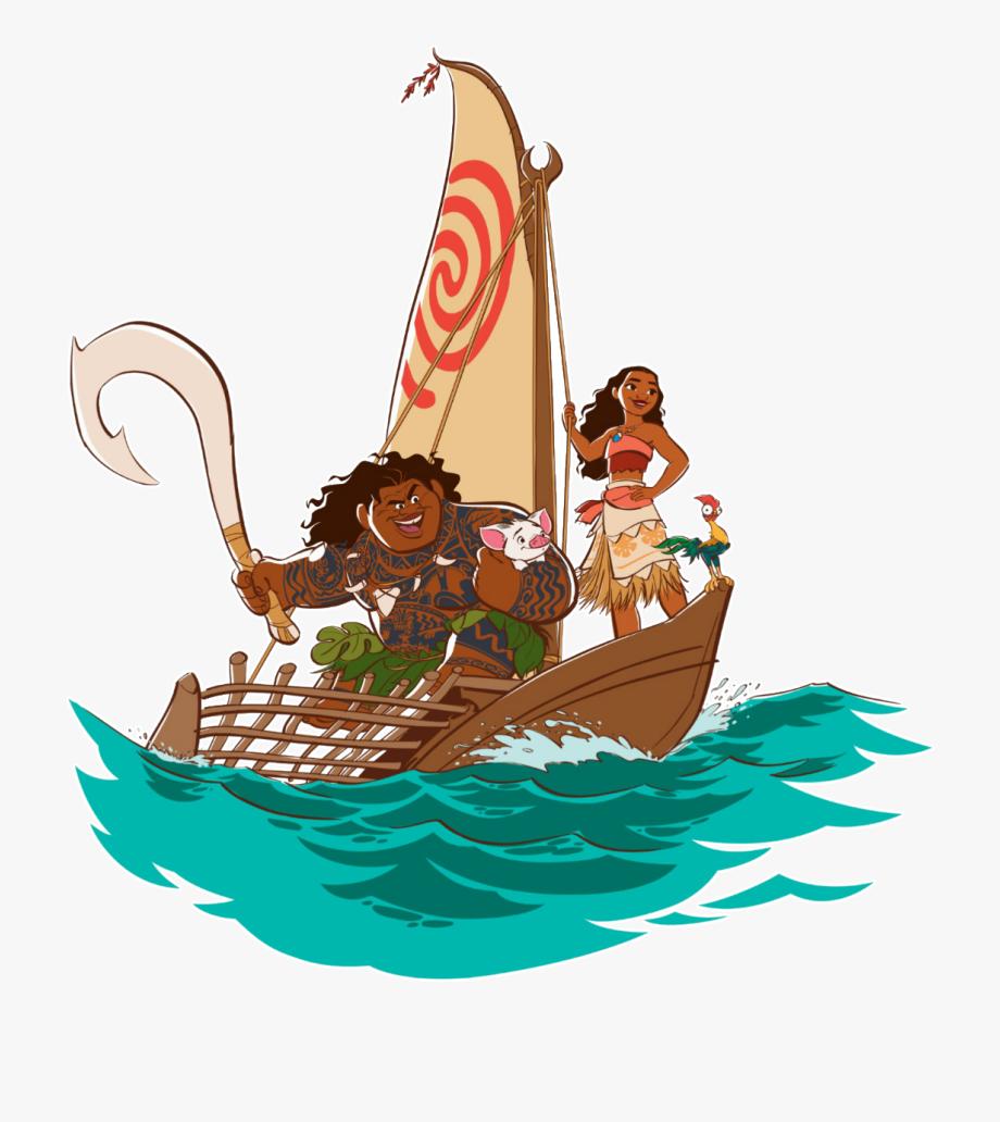 Ship and maui on. Boats clipart moana