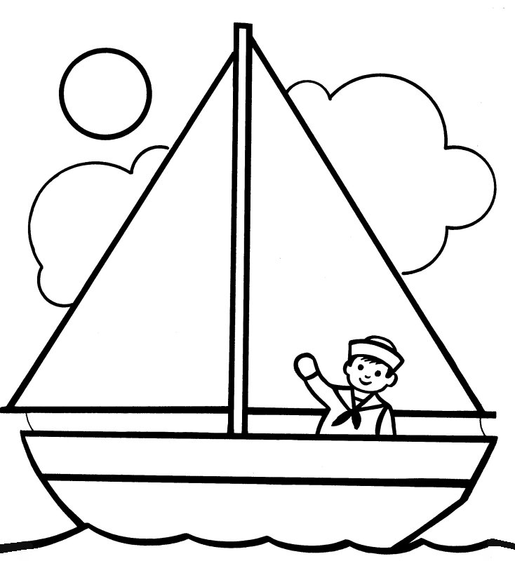 Boating clipart easy. Boat outline drawing at