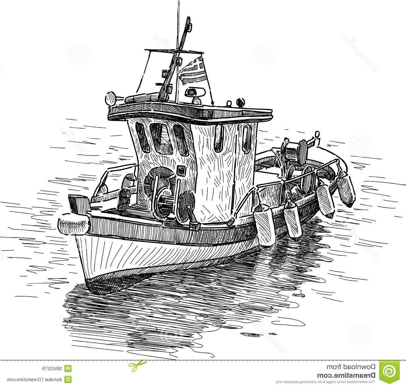 Best fishing boat drawing. Boats clipart sketch
