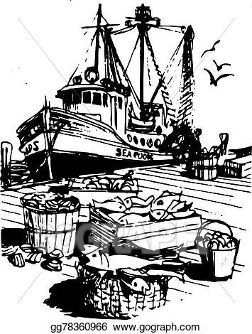 Boats clipart sketch. Vector illustration rustic fishing