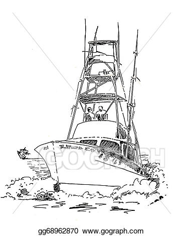 Boats clipart sketch. Offshore fishing boat stock