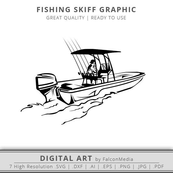 Boats clipart skiff. Fishing boat with rods