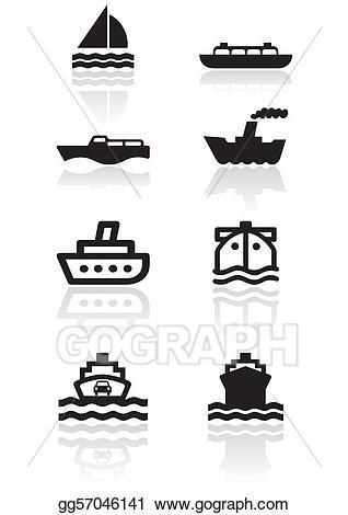 Vector boat illustration set. Boats clipart symbol