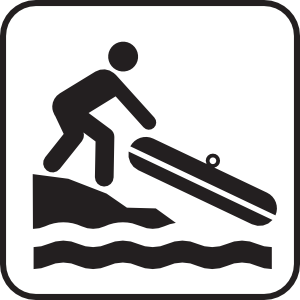 Hand launch small boat. Boats clipart symbol