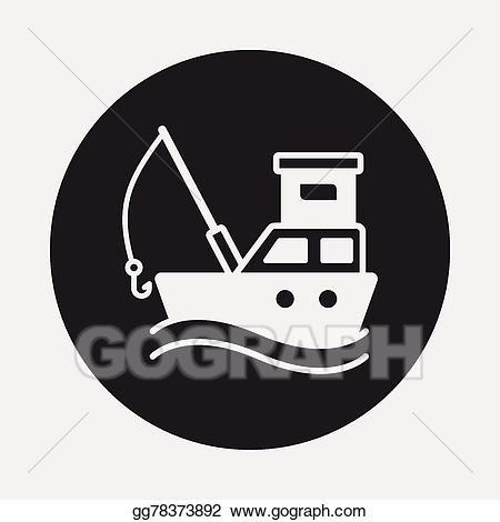Vector art fishing boat. Boats clipart symbol