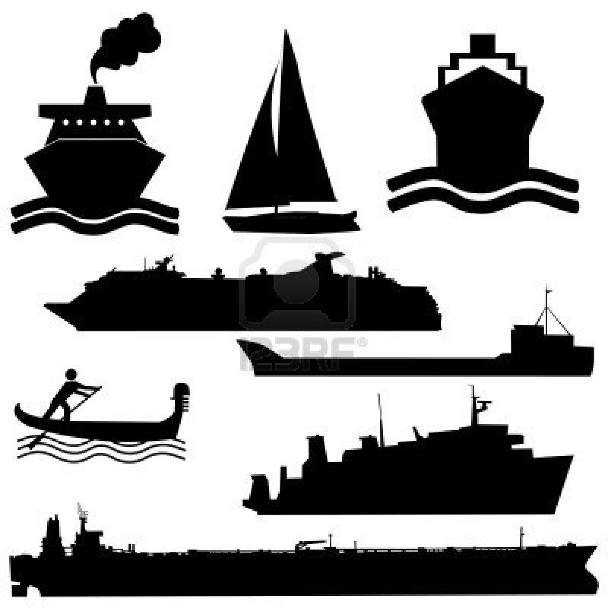 Assorted boat silhouettes ferry. Boats clipart tanker